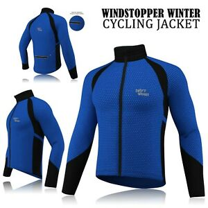 Mens-Cycling-Winter-Windstopper-Jacket-Thermal-Fleece-Windproof-Coat-Blue