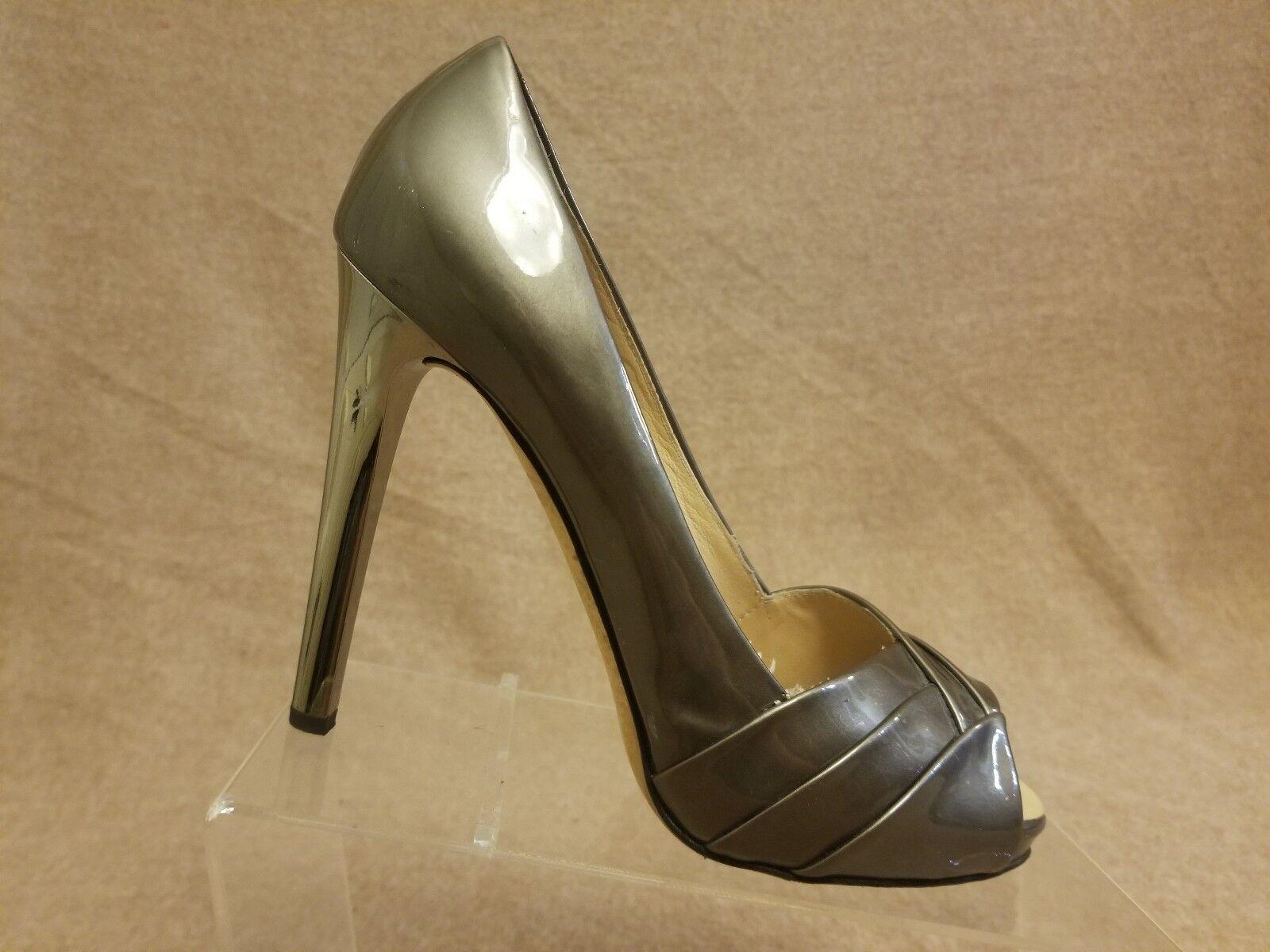 Giuseppe Zanotti Women Bronze Patent Leather Pump High Heel Peep Toe shoes Sz 9B