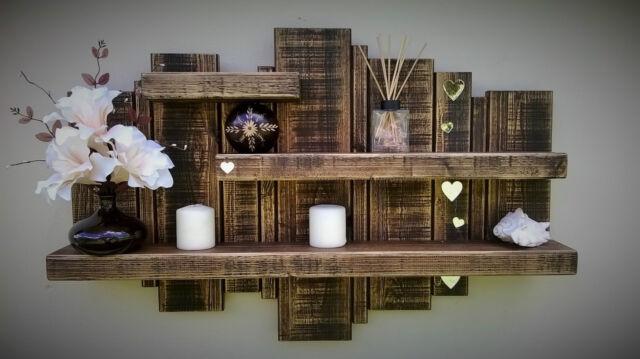 wooden floating shelf wall art display storage unit furniture mirror shabby chic