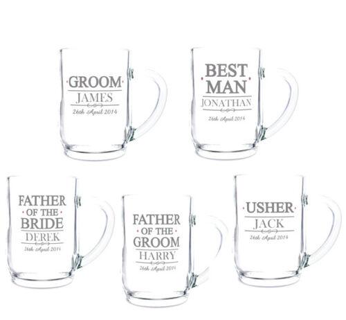 Personalised Beer Glass Tankards Groom Best Man Usher etc Wedding Thank You Gift