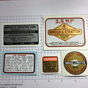 Briggs-amp-Stratton-3-5-hp-Vertical-Shaft-Lawnmower-Decals-Set-Snapper-MTD-Murray