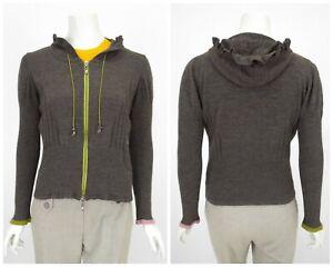 Womens-Eva-Claudi-Danish-Design-Zip-Hoodie-Knit-Jumper-Wool-Grey-Size-M