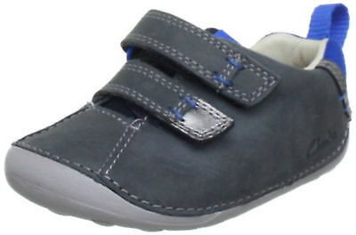 Clarks Infant Kids UK 2 F Cruiser Time Denim Blue Leather New First Shoes
