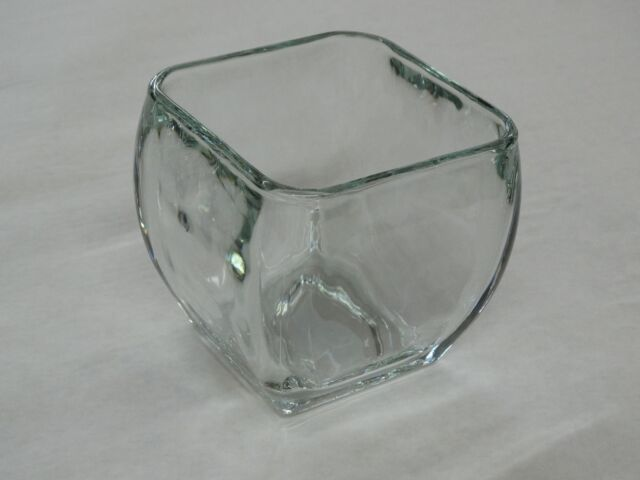 Libbey Glass Clear Votive Curved Tapered Square Candy Bowl Vase