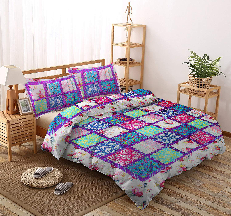 Cotton Rajai Indian Blanket Patchwork Comforter Duvet Queen Größe Quilt W Pillow