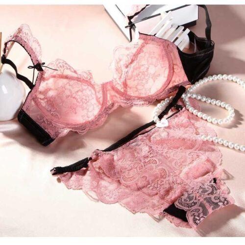 Women See-Through Lace Push Up Transparent Everyday Bra Lingerie Porno Set lolit