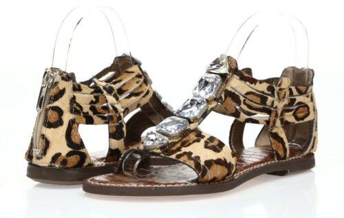5.5-10 M $150 Nouveau Sam Edelman imprimé léopard véritable teint vache fourrure Sandales SZ