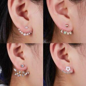 19276e1e15 Women Girl Crystal Pearl Cute Daisy Flower Ear Stud Earrings Wedding ...