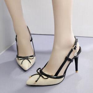 Schuhe-Pumps-Elegant-Stilett-8-CM-Beige-Schwarz-Bequem-Leder-Kunststoff-1579