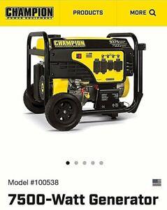 100538 - 7500/9375w Champion Generator, Electric Start, w/ 50AMP - NEW IN BOX !!