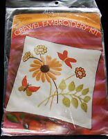Vtg 1971 Pauline Denham Embroidery Jacobean Pillow Kit Butterfly 14 X 14