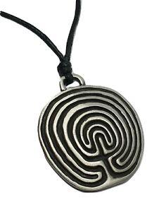 Labyrinthe-Maze-Etain-Pendentif-Antique-Spiritual-pagan-symbole-Cordon-Collier