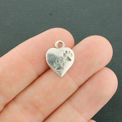 SC3122 10 Paws Heart Charms Antique Silver Tone Great for Dog Lovers