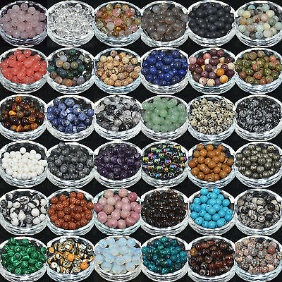 Lots Natural Gemstone Round Spacer Loose Beads 4mm 6mm 8mm 10mm 12mm Pick