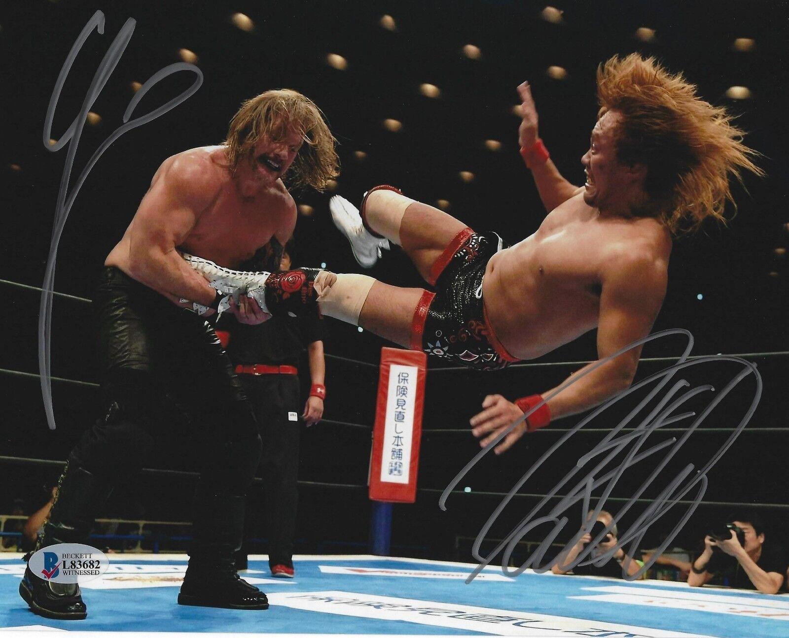 Tetsuya Hairal & Chris Jericho signed 8x10 Photo Bas cert. de autenticidad New Japan Pro Wrestling