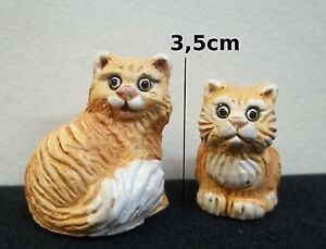 kat cat chat miniature en porcelaine,collection,animal, poes,roux  *S2-5