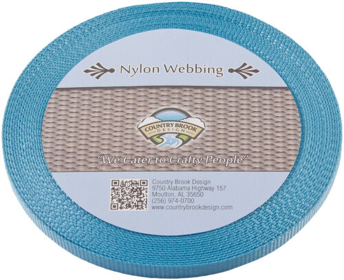 Country Brook Design® 3//8 Inch Ocean Blue Heavy Nylon Webbing 20 Yards