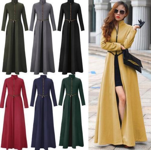 8 colors Womens Wool Blend Floor Length Winter Autumn Slim Dress Long Maxi Coat