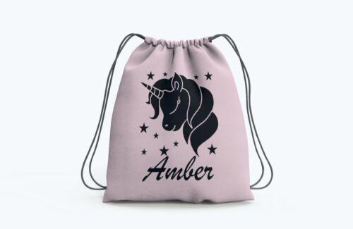 P.E Gym Dance School Swimming Shoes. Personalised Unicorn Drawstring Bag