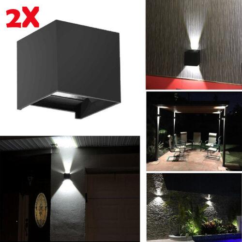 2x Modern 12W COB LED Wall Light Waterproof Indoor Outdoor Cube Adjustable Lamp