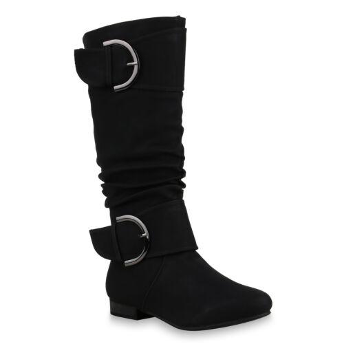 Klassische Stiefel Damen Nieten Schnallen Leder-Optik 812526 Schuhe