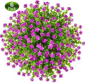 6 Pack Artificial Fake Flowers Fake Outdoor Uv Resistant Plants Faux Plastic 744110834505 Ebay