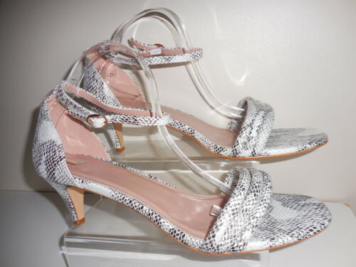 SNAKE PRINT 2 PART KITTEN HEELED SANDALS SIZE 10 WIDE FIT BNWT FROM EVANS EEE