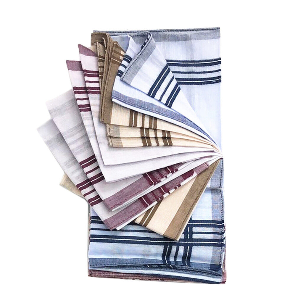 100% Cotton Plaid Handkerchiefs Hanky Square For Men Women 38cm