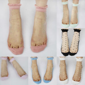 Lovely-Girl-Ladies-Sheer-Mesh-Lace-Cute-Dots-Frill-Trim-Ankle-Socks-Gift