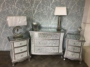 Silver Mirrored Crackle Glass Bedroom SET Chest of Drawers + 2 ...