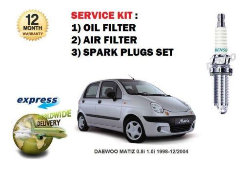 PLUGS SET DAEWOO MATIZ 0.8i 1.0i 1998-12//2004 SERVICE KIT OIL AIR FILTER SET