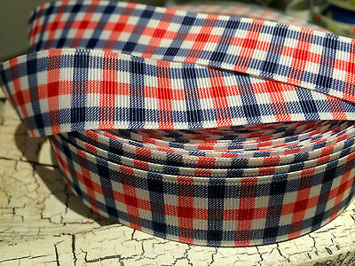 """1"""" Preppy NAUTICAL PLAID Blue Red and White Grosgrain Ribbon"""
