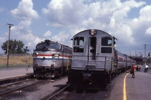 AMTRAK-Railroad-Locomotive-488-Train-RENSSELAER-NY-Original-1983-Photo-Slide