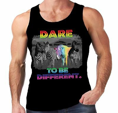 Velocitee Ladies T-Shirt Dare To Be Different Rainbow Zebra Geek Fashion A19563