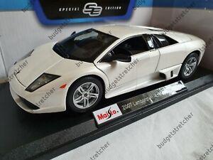 MAISTO-1-18-Scale-2007-Lamborghini-Murcielago-LP-640-White-Diecast-Model-Car