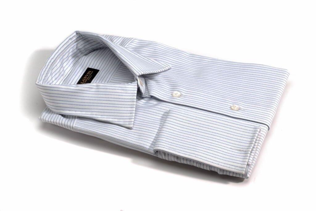 LANVIN White bluee stripe shirt w  french cuffs