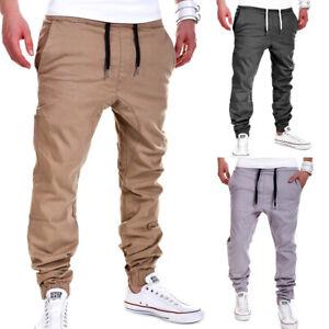 Hommes-Jogger-Chino-Pantalon-Jeans-Pantalon-Cargo-Pantalon-De-Training-Low-Crotch-Pants-Neuf
