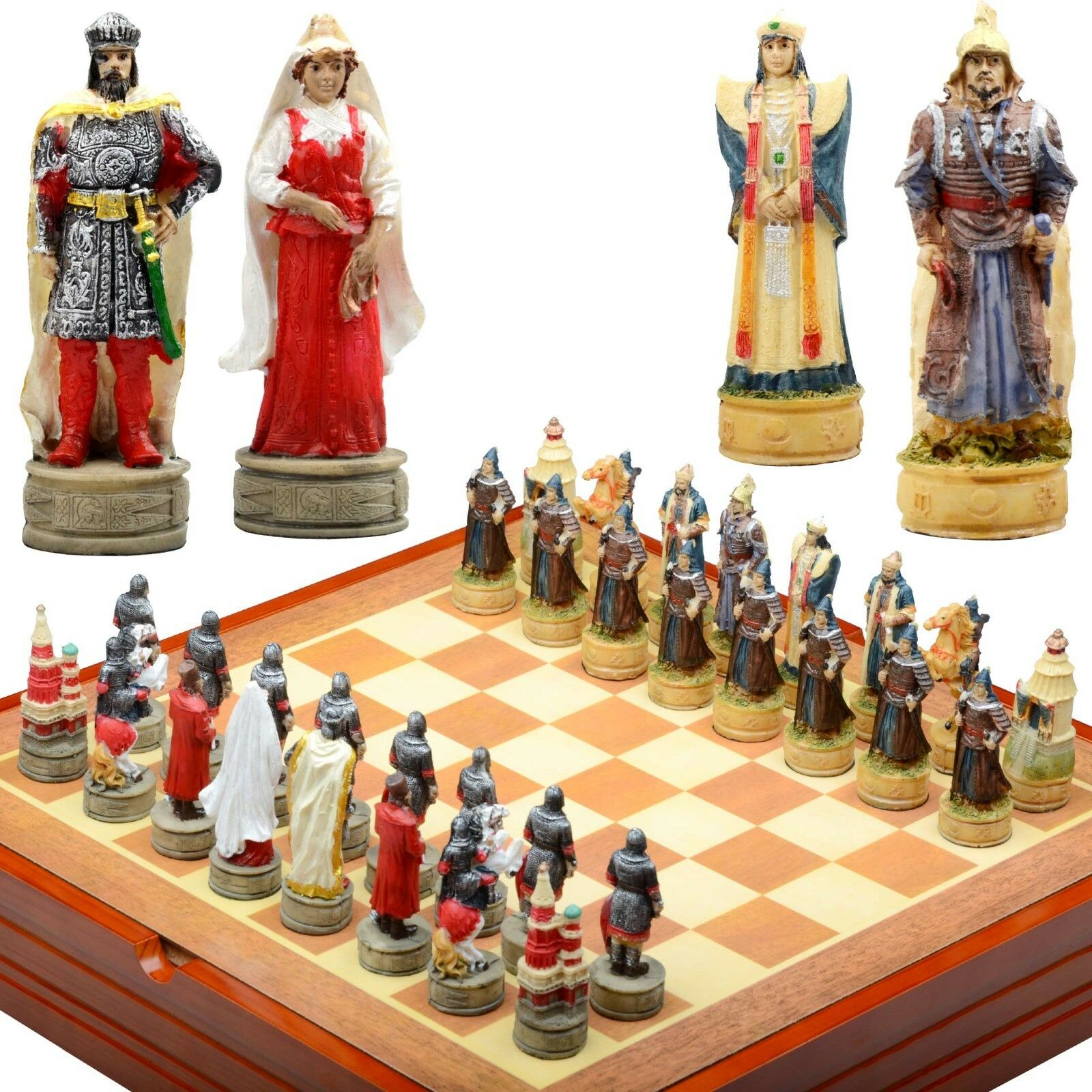 Genghis Kahn themed Chess Set. Resin Pieces Wood Board & Box great warriors