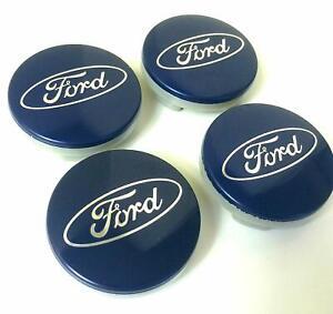 4x-65mm-Ford-bleue-argent-jantes-couvercle-moyeux-capuchon-roue-enjoliveur-cache