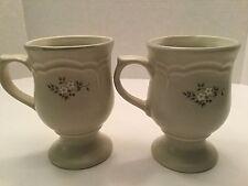 Pfaltzgraff Heirloom White Mug Latte Pedestal Coffee Cup, set of 2