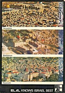 EL AL KNOWS ISRAEL BEST~JERUSALEM-BETHLEHEM-NAZARETH-AIRLINE POSTCARD