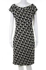Diane Von Furstenberg Ivory Black Geometric Stretch Sweater Dress Size 10