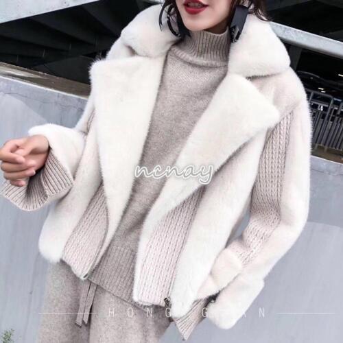 Real Mink Sweater Kvinders Fur Frakke Lapel Winter Ny Collar Strikket Outwear Jacket xfppwq5C
