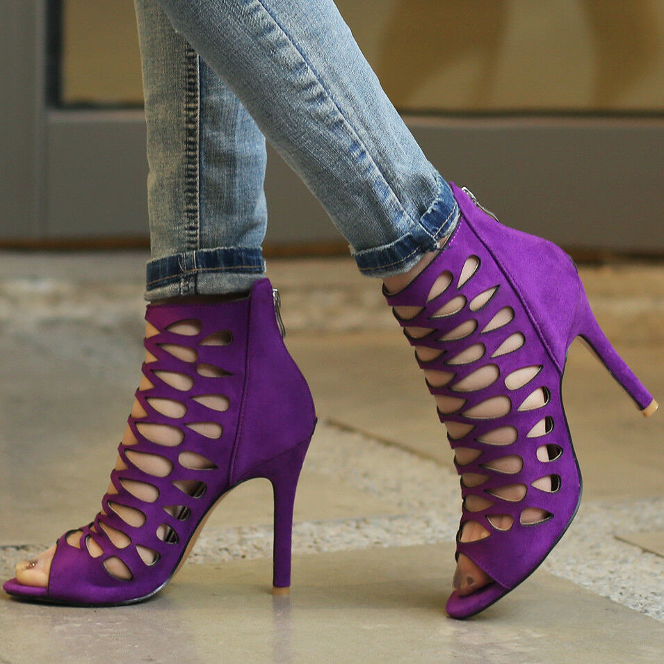 Women Gladiator Sandals Open Toe Suede Stiletto High Heel Party Ladies shoes W12