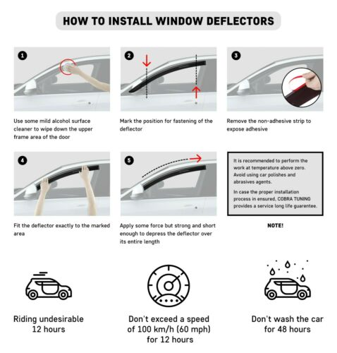 For Honda Civic 6 Sd 1995-2001 Window Side Visors Sun Rain Guard Vent Deflectors