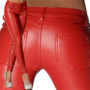 Pour Femme Sexy Noir & Rouge Aspect Cuir Taille Basse Pantalon Skinny Jeans X 126-afficher Le Titre D'origine Vente Chaude 50-70% De RéDuction