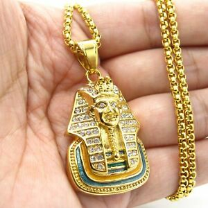 6cf78e4a82273 Details about MENDEL Mens Egyptian Pharaoh Necklace Gold Diamond Stainless  Steel Chain Hip Hop