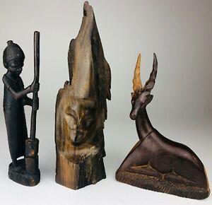 VINTAGE-African-Tribal-Folk-Art-Hand-Carved-Tall-Wooden-Man-Sculpture-Gazelle