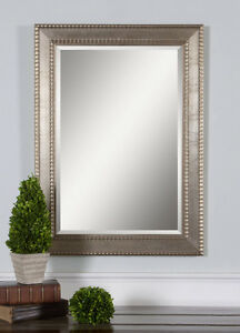 Large silver champagne beaded rectangular beveled almena - Silver bathroom mirror rectangular ...