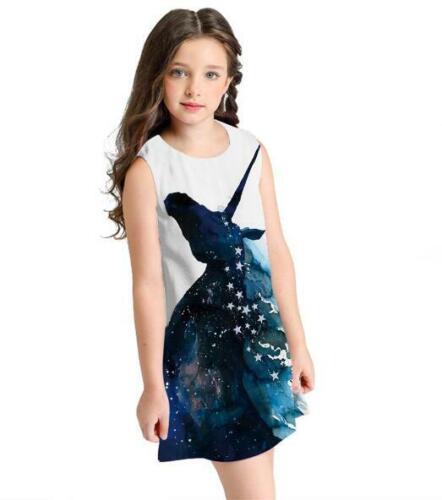 Kid Vest dress Horse little mermaid Printed Sleeveless A Line dress S-L 4 Style